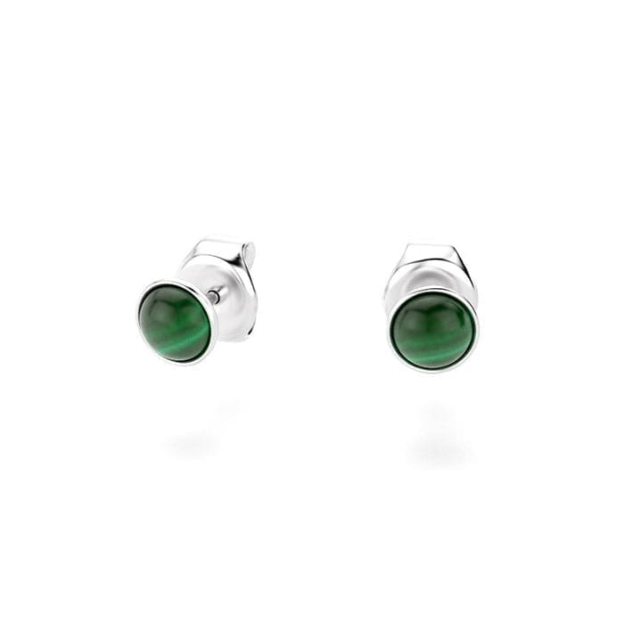 boucles oreilles en argent collection cocktail et cabochon malachite