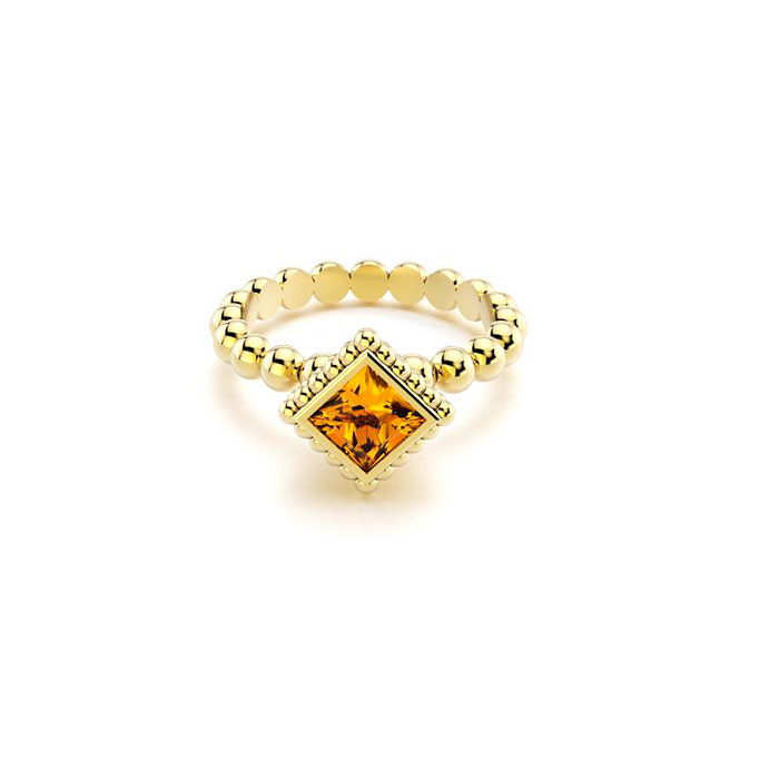 Bague Saint petersbourg en or jaune Citrine carré