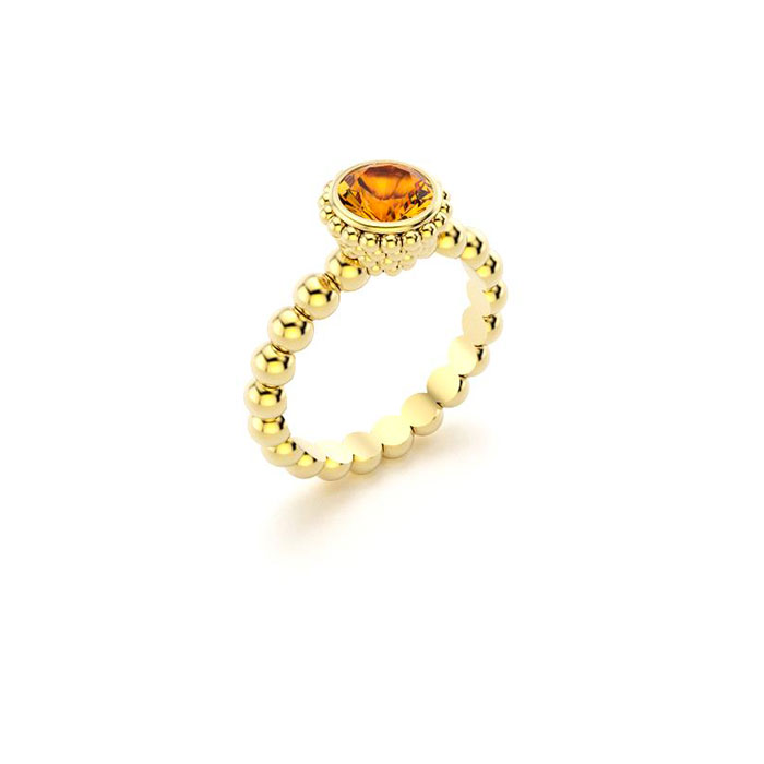 bague Saint petersbourg en or jaune Citrine ronde
