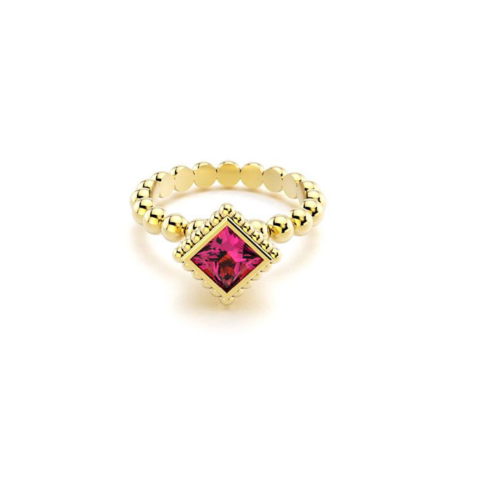 Bague Saint petersbourg en or jaune Rhodolite carré