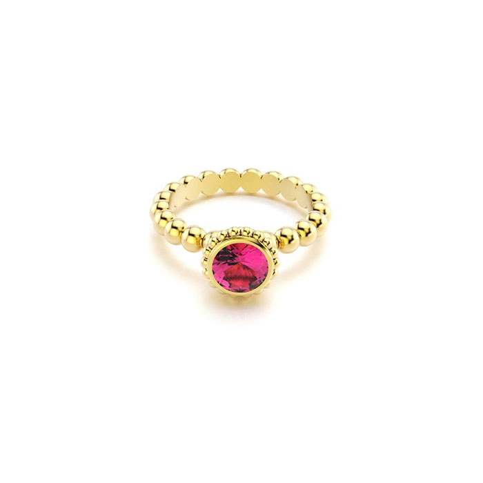 bague Saint petersbourg en or jaune Rhodolite ronde