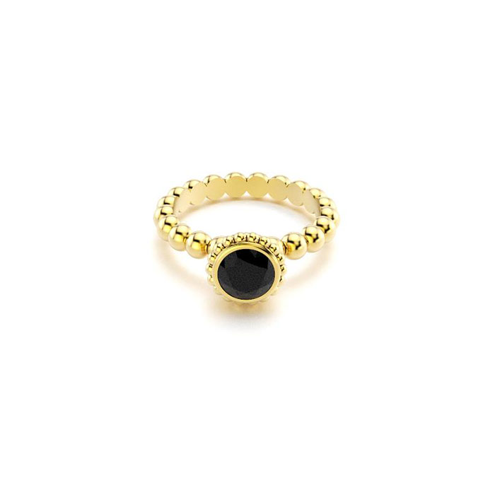 bague Saint petersbourg en or jaune Spinelle noir ronde