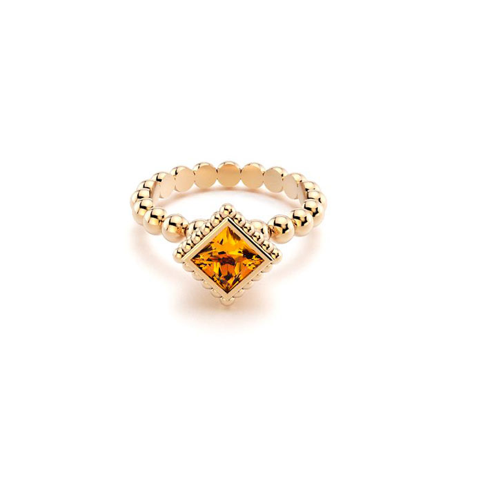 Bague Saint petersbourg en or rose Citrine carré