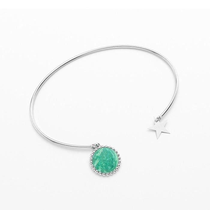 Bracelet jonc cocktail en argent et amazonite