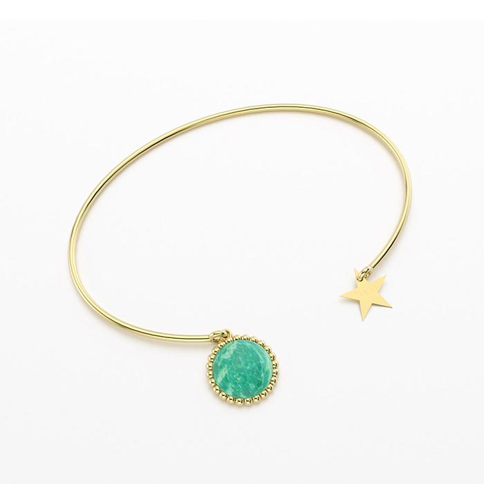 Bracelet jonc cocktail en vermeil et amazonite