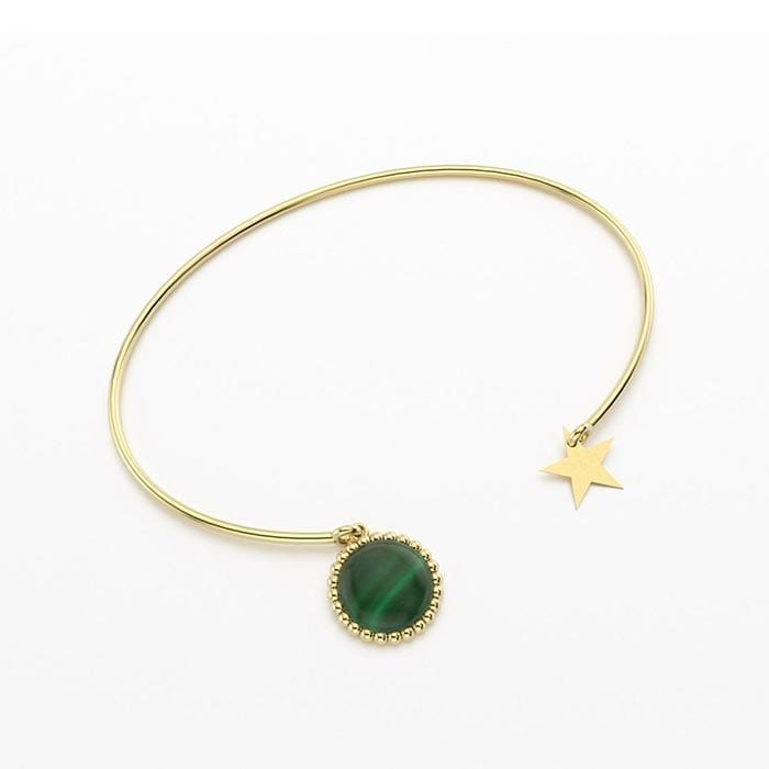 Bracelet jonc cocktail en vermeil et malachite