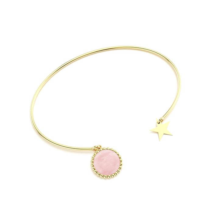 Bracelet jonc cocktail en vermeil et quartz rose